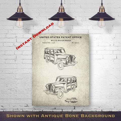 1948 Willys Station Wagon Patent Digital Download - Gift Idea For A Car Enthusiast - Vintage Automobile Wall Decor - Instant Download