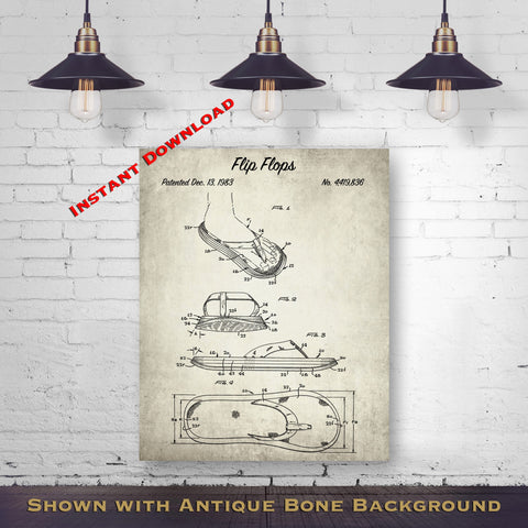 1983 Flip Flops Patent Digital Download - Beach House Wall Decor - Instant Download