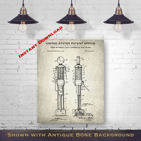 1933 Starkey Coin Operated Gas Pump Patent Digital Download - Antique Petroliana Wall Decor - Instant Download