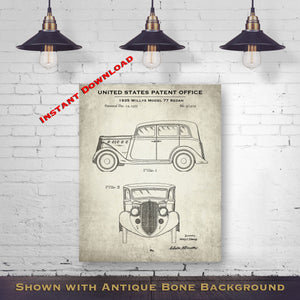 1935 Willys Model 77 Sedan Patent Digital Download - Gift Idea For A Car Enthusiast - Vintage Automobile Wall Decor - Instant Download