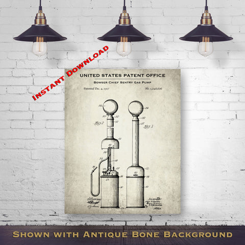 1917 Bowser Chief Sentry Gas Pump Patent Digital Download - Antique Petroliana Wall Decor - Instant Download