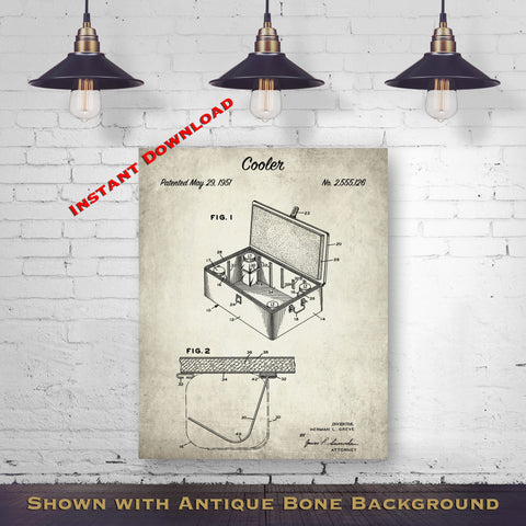 1951 Cooler Patent Digital Download - Picnic Wall Decor - Instant Download