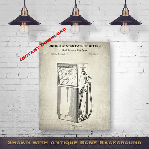 1962 Bowser Gas Pump Patent Digital Download - Vintage Petroliana Wall Decor - Instant Download