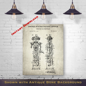 1933 Wayne Gas Pump Patent Digital Download - Antique Petroliana Wall Decor - Instant Download