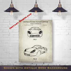 1995 Porsche 986 Boxter Patent Digital Download - Gift Idea For A Car Enthusiast - Vintage Automobile Wall Decor - Instant Download