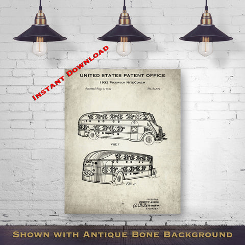 1932 Pickwick NiteCoach Patent Digital Download - Antique Bus Blueprint - Instant Download