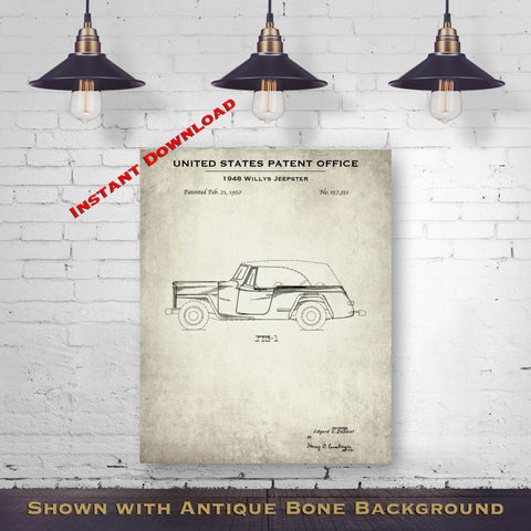 1948 Willys Jeepster Patent Digital Download - Vintage Transportation Wall Art - Instant Download