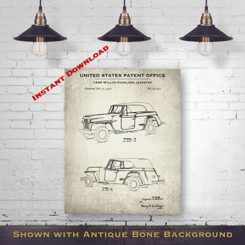 1948 Willys-Overland Jeepster Patent Digital Download - Transportation Wall Art - Instant Download