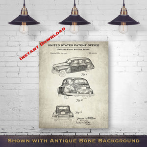 1949 Packard Eight Station Sedan Patent Digital Download - Gift Idea For A Car Enthusiast - Vintage Automobile Wall Decor - Instant Download