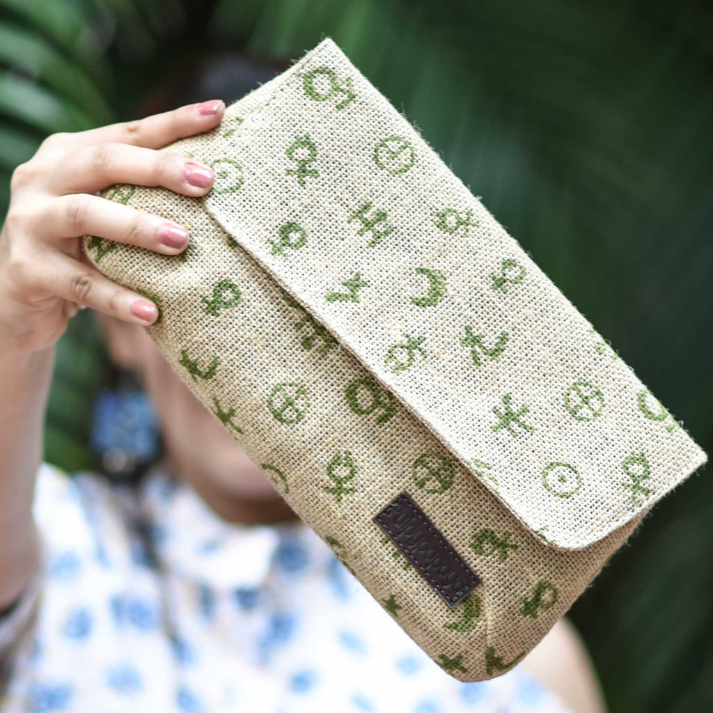 buy unique handblock printed evergreen pure jute clutches online  for ladies handcrafted by crafinno.com