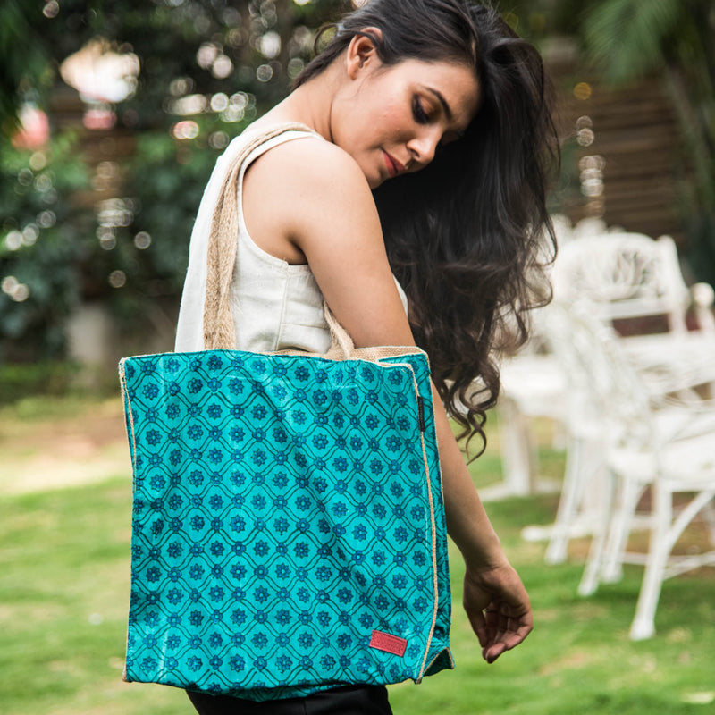 TurqFlora-Duo-Block-Printed-Jute-Eco-Friendly-Shopper-Bag