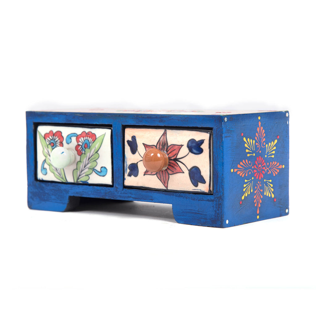 Khurja pottery home decor blue pottery twins drawer chest ceramic polish online buy pulpypapaya