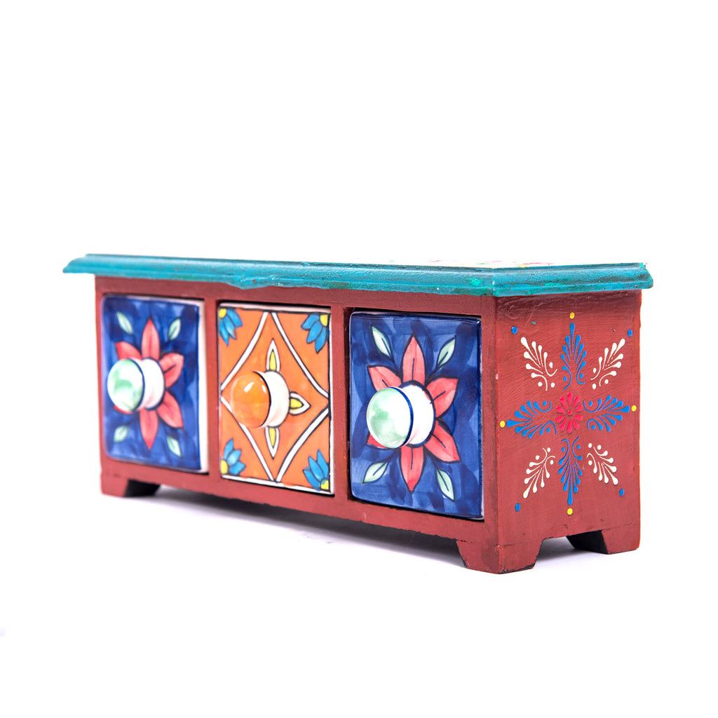 Khurja-pottery-online-buy-blue-pottery-three-drawer-vintage-wooden-chest-box-online-buy-pulpypapaya