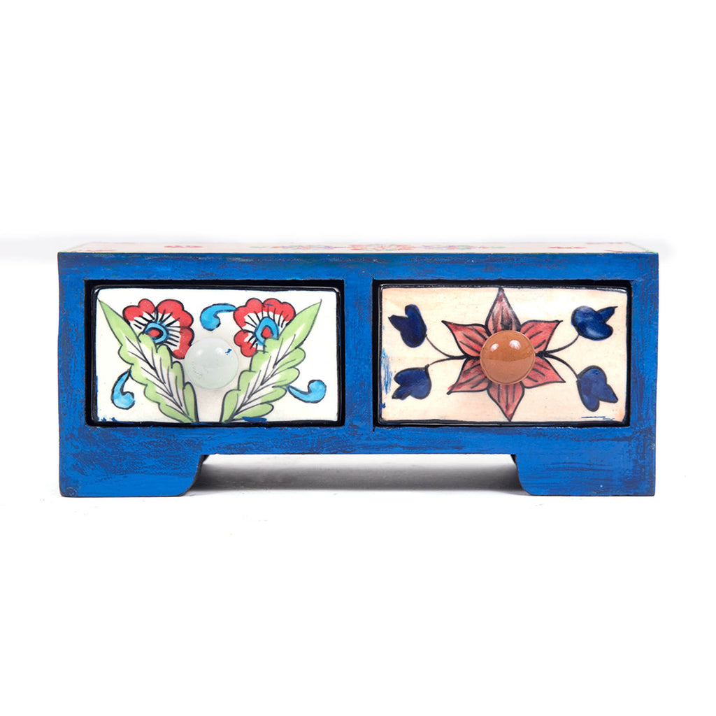 Blue pottery online rajasthan folk art handcrafted twins drawer chest pulpypapaya