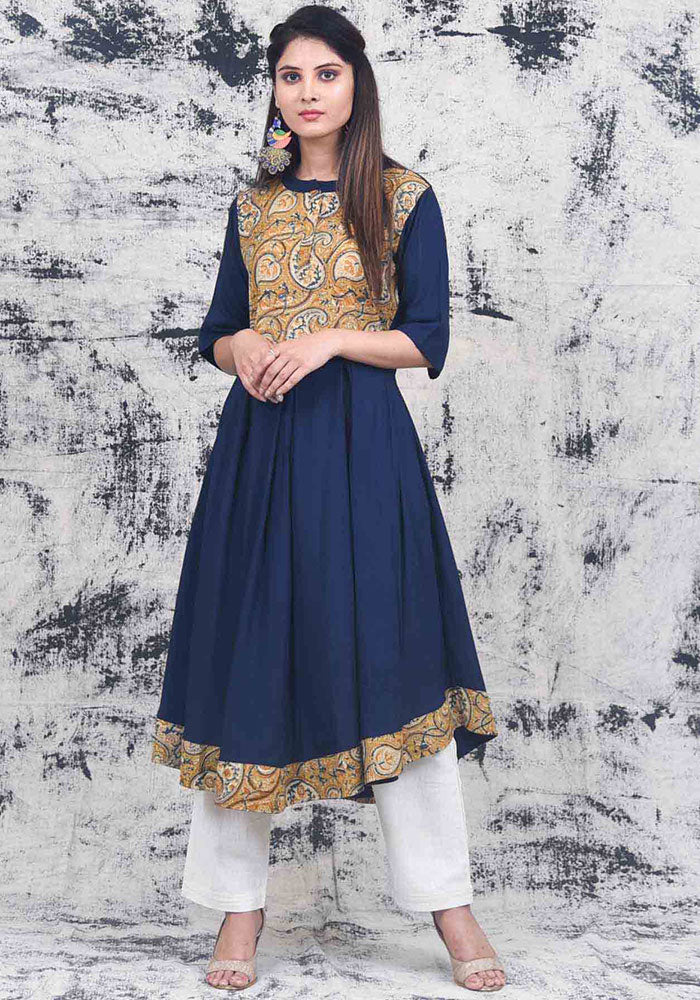 buy-handpainted-kalam-flare-flared-kalamkari-stylish-party-wear-designer-indian-long-kurti-online