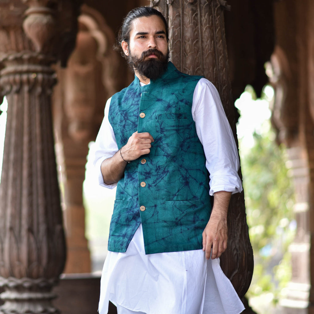 Turquoise-Nehru-jacket-for-male-in-bangalore