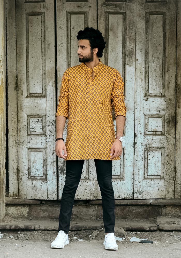 Buy yellow classic cotton hand block printed kurtas for mens graceful unique signature kurtas men male gents wholesale online india at crafinno.com