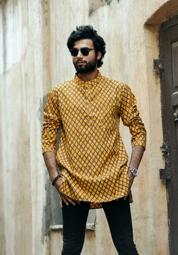 Buy yellow mens kurta shirts mid thigh half kurtas for jeans retro vintage traveller all day kurtas for mens gents party wear kurtas india online at crafinno.com