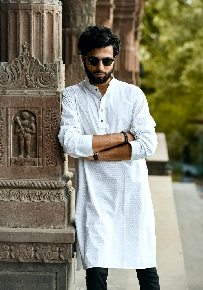 Buy white long sleeves stitched hand block printed cotton mens kurtas every men must own dark skintone kurtas for men online india at crafinno.com