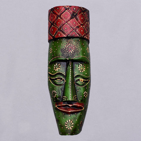 Coral Serene Eyes Wooden Mask