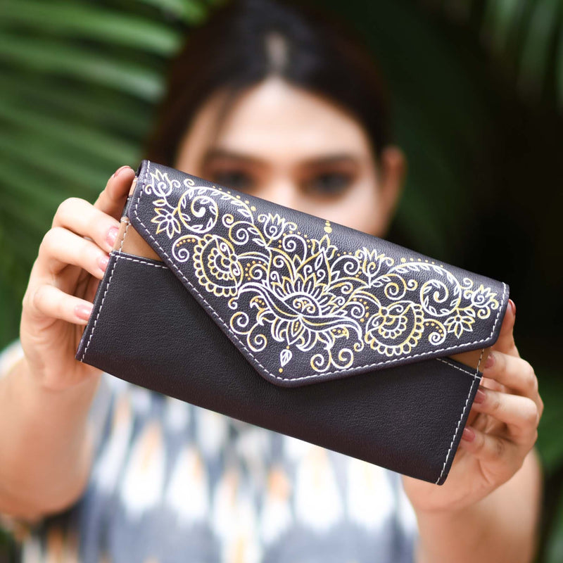 Buy indian mandana Artwork hand Painted multi pocket brown color leather women clutches purses online handmade by crafinno.com