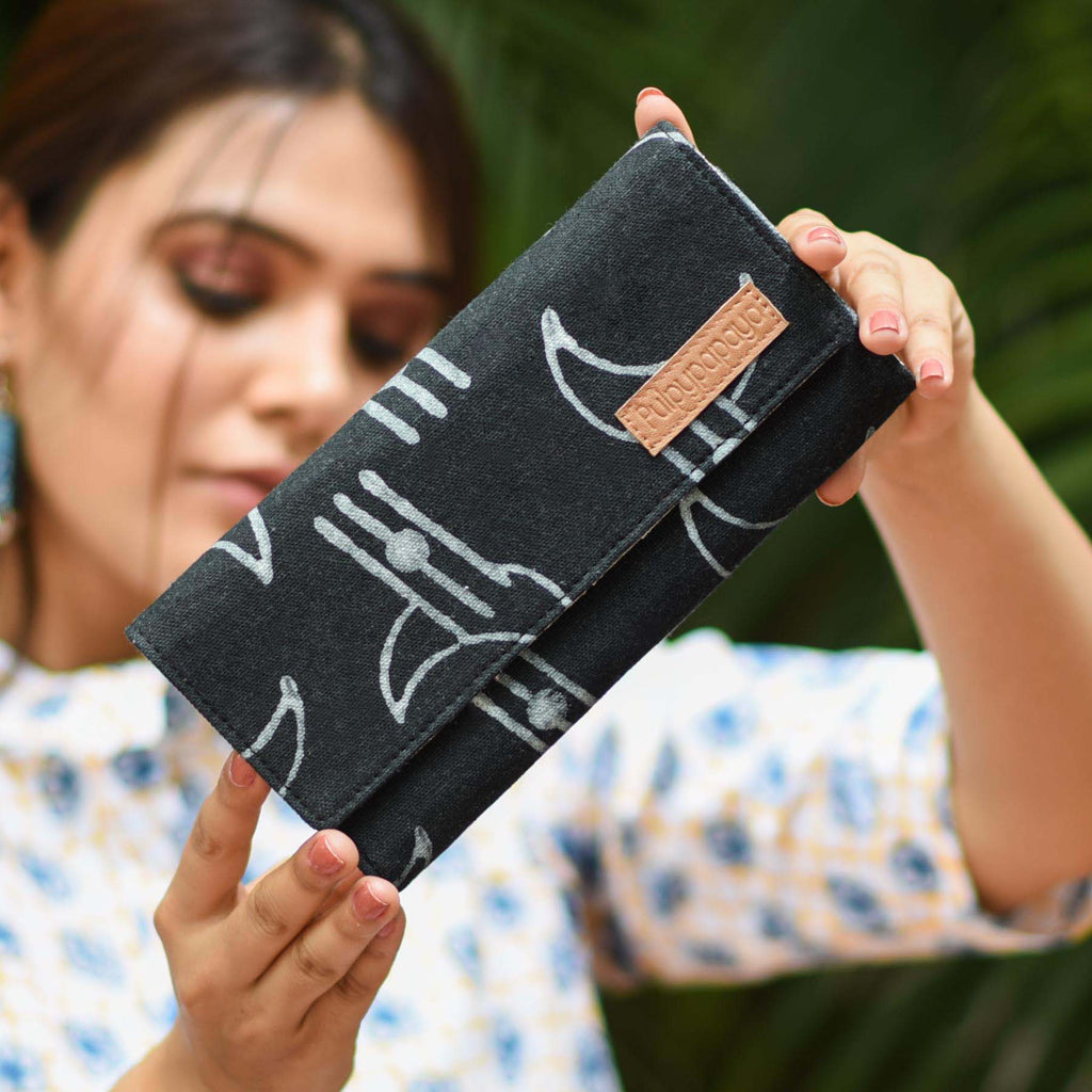 buy cotton fabric canvas black multiple slots mobile pocket female black color clutches wallets online handcrafted by crafinno.com