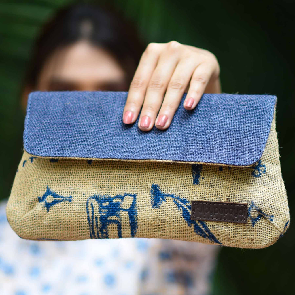 buy cotton pure jute women female blue color bags in trend in india handcrafted by crafinno.com
