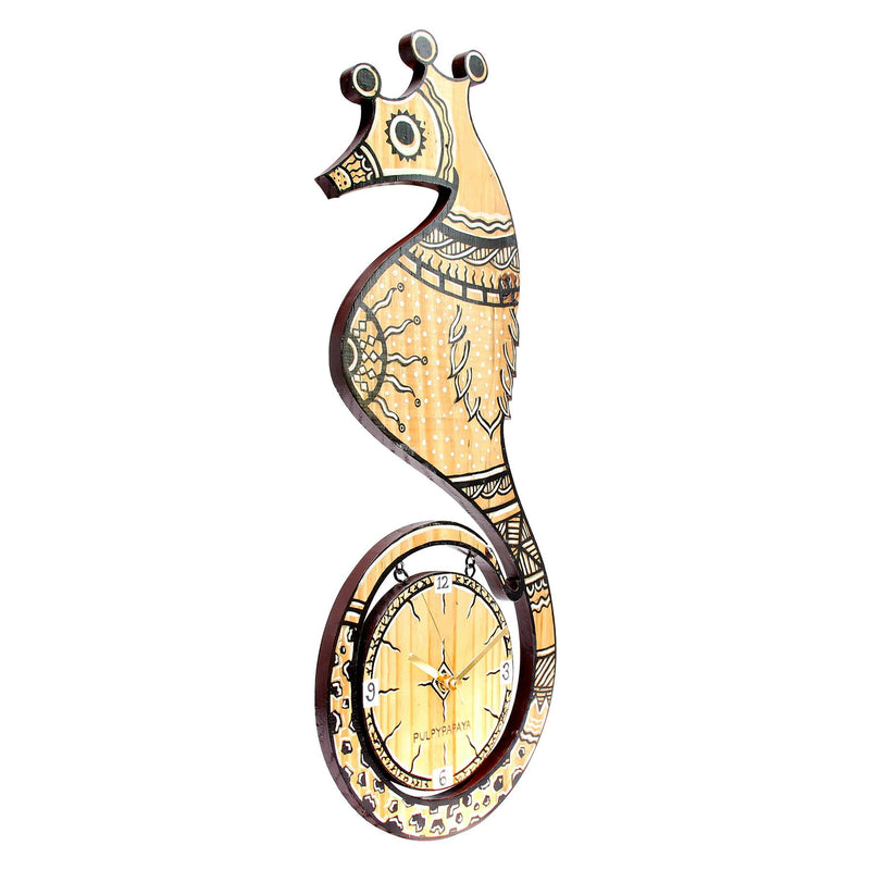 Madhubani Sea Horse Clock