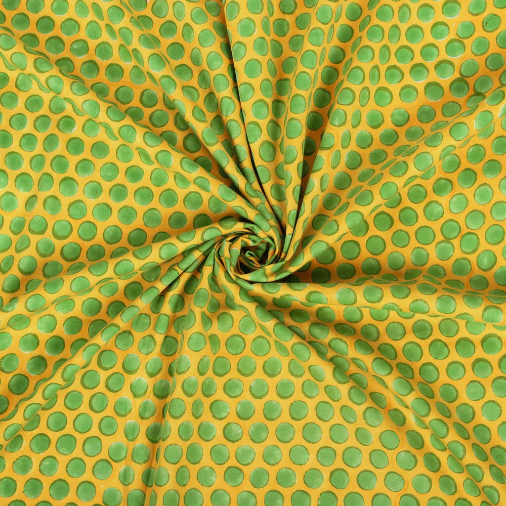 Buy yellow cotton fabric online in India block prints handcrafted designer suit material by artisans at crafinno.com