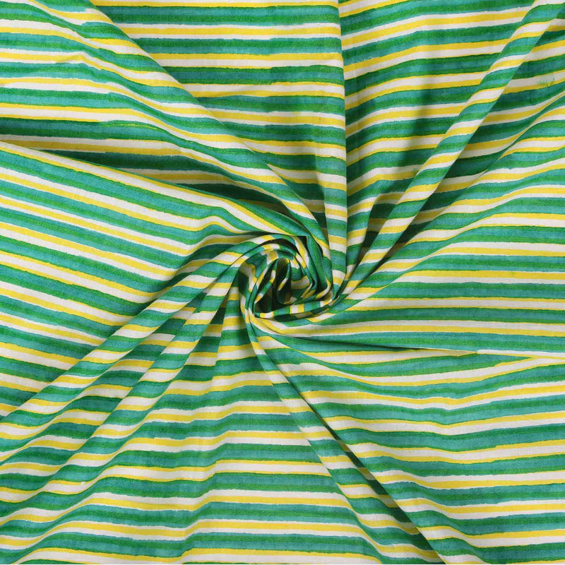 buy indian fabric online green yellow checks designer cotton block printed dress suit material at crafinno.com