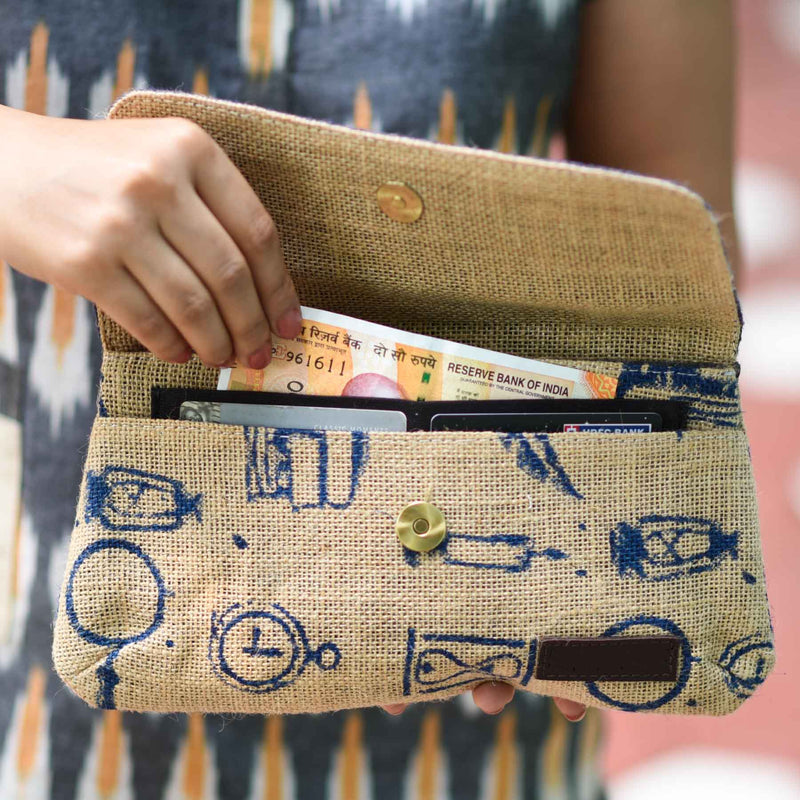 buy blue color pure jute designer clutches bags available best female bags online in india by crafinno.com