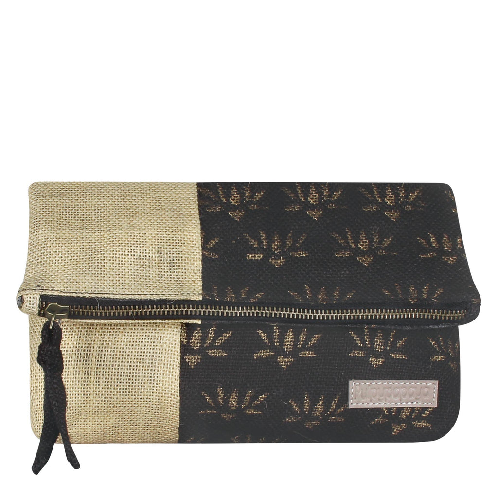 buy cotton jute block printing brown color clutches bags for women in india handmade by crafinno.com