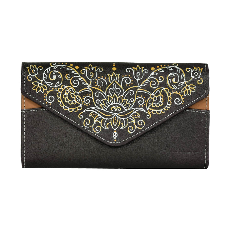 buy trendy female clutches Cardholder multi pocket mobile leather wallet purse handmade by crafinno.com