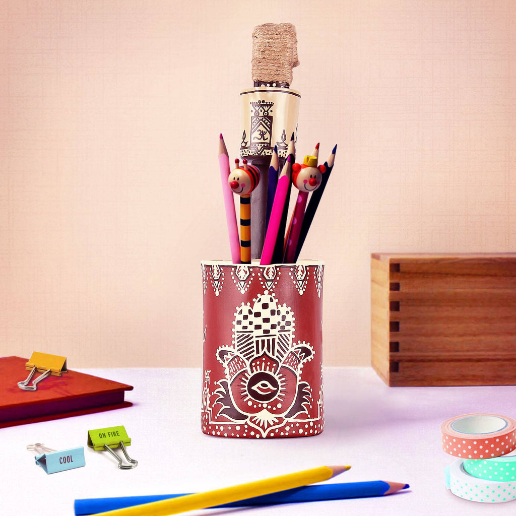Handmand Hand painted Pen Holder online buy pulpypapaya art craft store