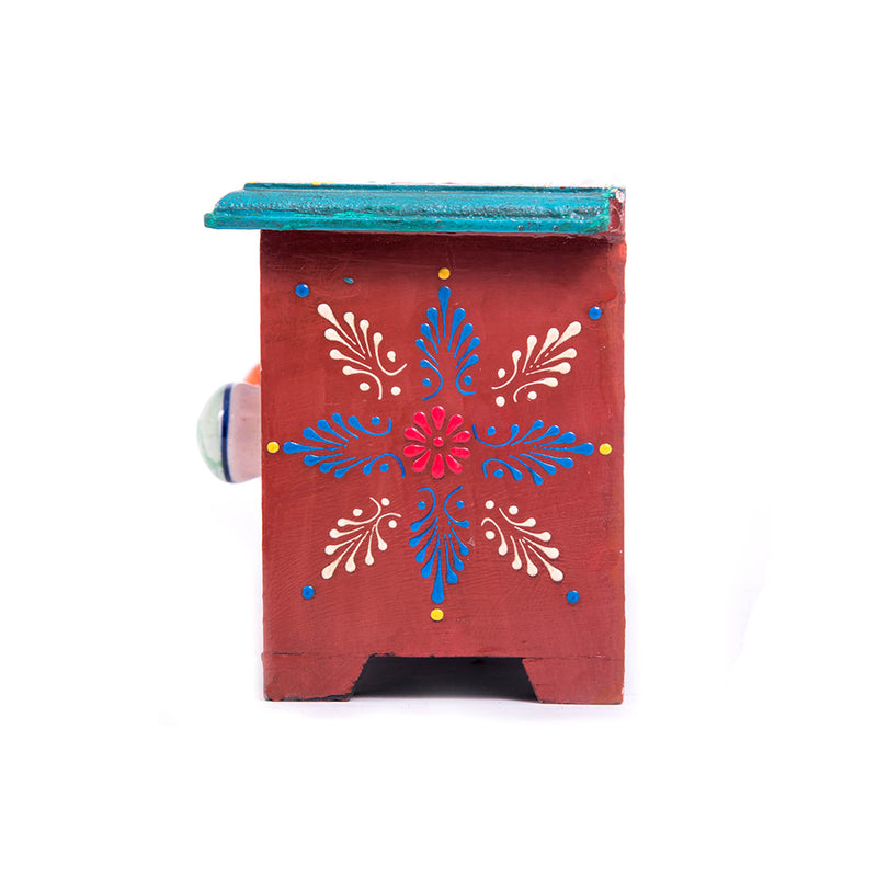 Home-décor-ideas-blue-pottery-3-drawer-miniature-wooden-chest-box-ceramic-polish-online-buy-pulpypapaya