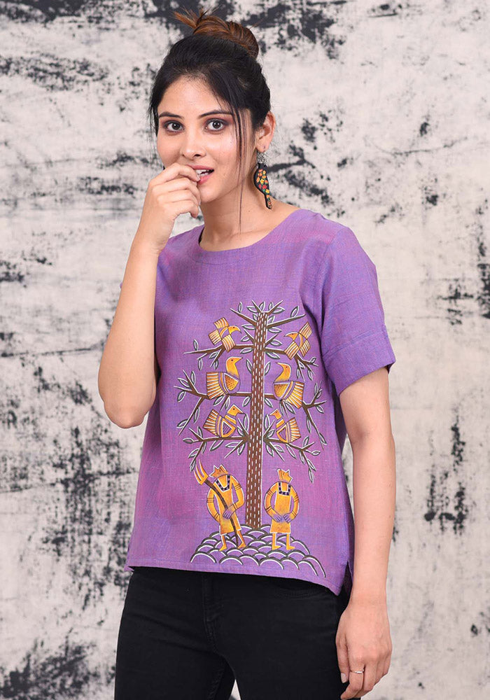 Hunt A Bird Hand Painted Khadi Top