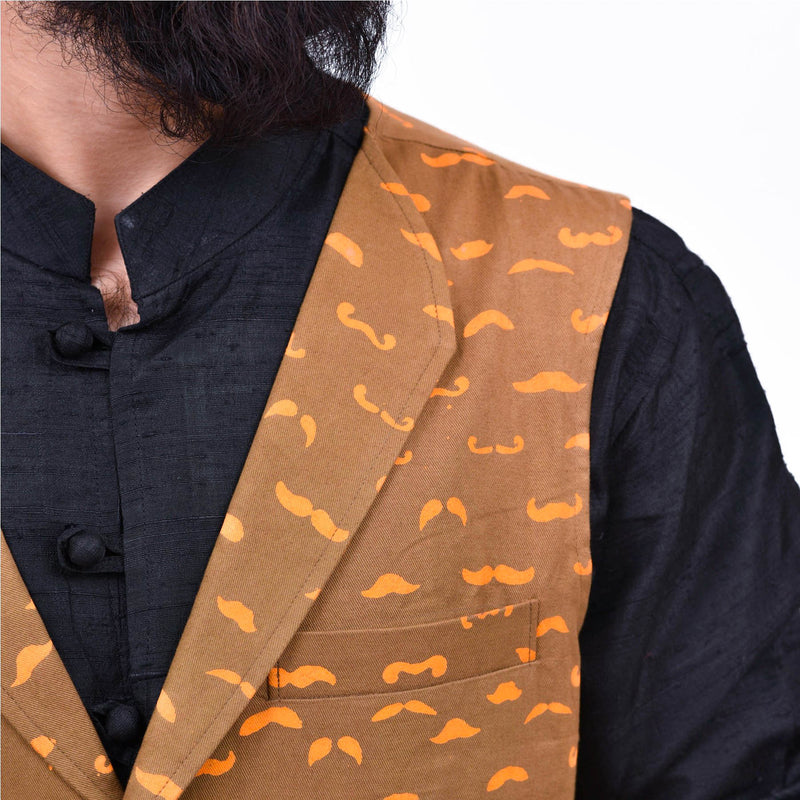 Stylish-hand-block-printed-mooch-waist-coat-online-for-men-indore