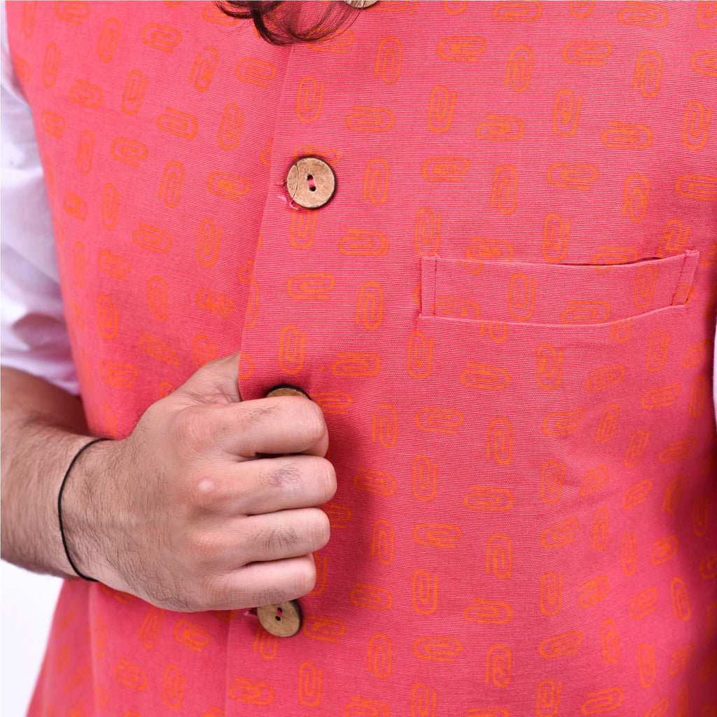 Hand-block-printed-Nehru-pink-jacket-for-male-near-me