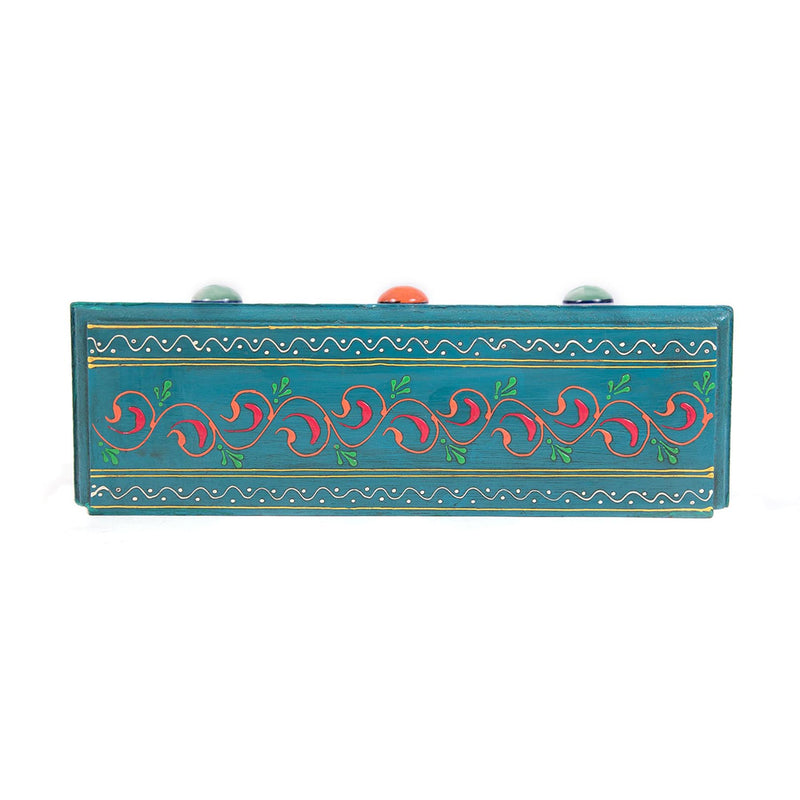 Blue-pottery-3-drawer-chest-box-near-me-buy-handmade-wooden-chest-Rajasthan-folk-art-pulpypapaya