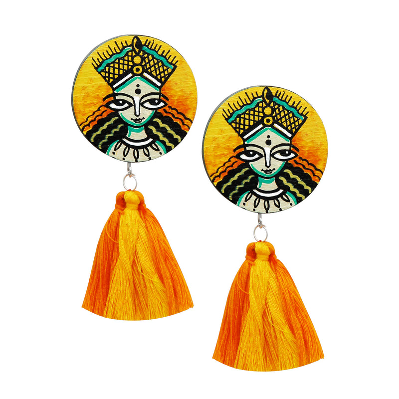buy-yellow-hand-painted-wooden-earring-online-bangalore-indore