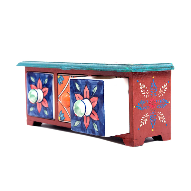 Jaipur-blue-pottery-online-handcrafted-blue-and-white-wooden-drawer-chest-box-pulpypapaya