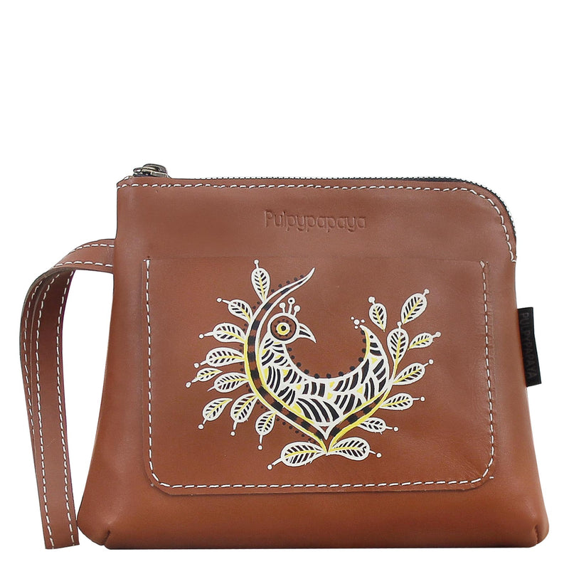 shop online leather clutches wallet card pocket designer purses for women hand painted by crafinno.com