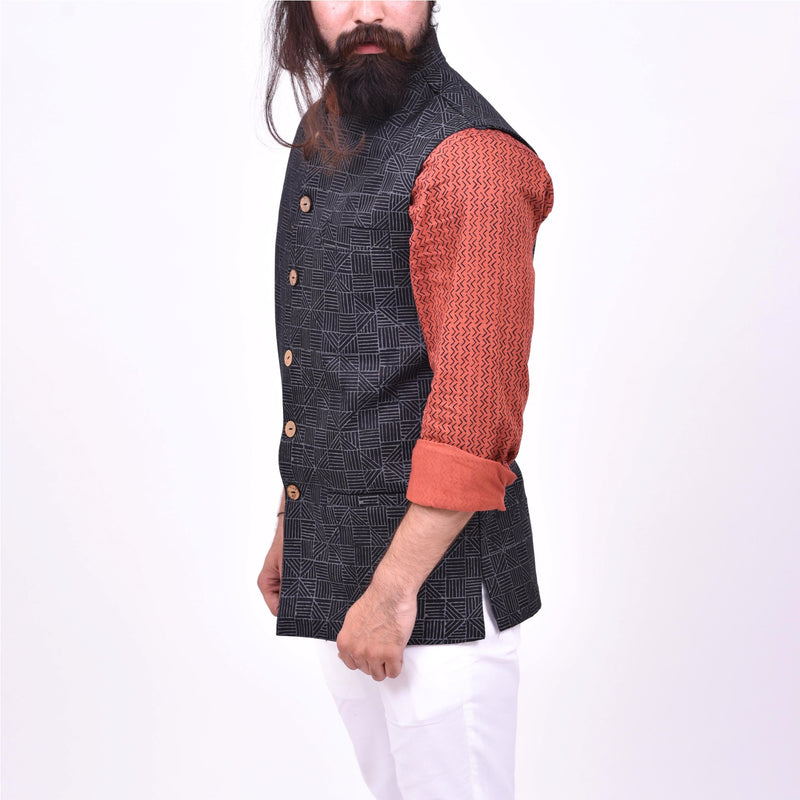 Eco-friendly-handcrafted-Nehru-jackets-sustainable-fashion-for-men