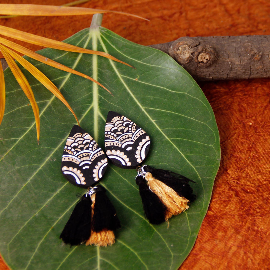 buy-black-tassel-designer-handcrafted-indian-style-earrings-online