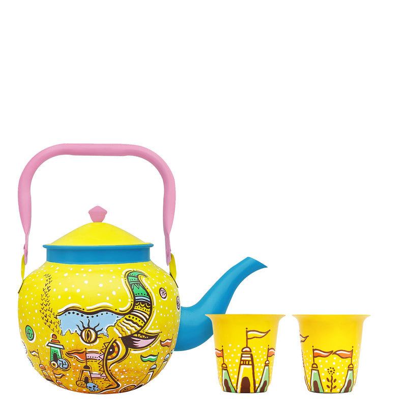 Nandi Enigma Kettle With 2 Glasses