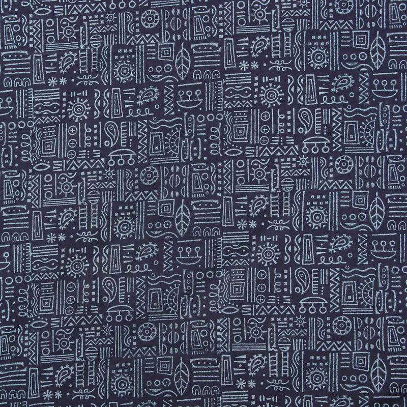 Buy navy blue fancy designer suit material block printed designs fine cotton fabric yardage online India handmade by crafinno.com