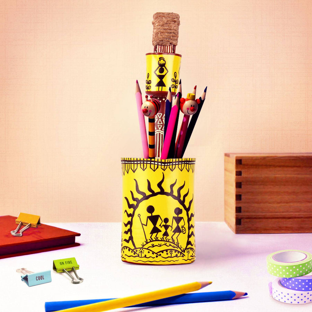 Online buy hand painted warli women pen pot pulpypapaya