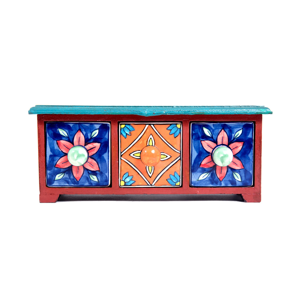Pottery-blue-pottery-6-drawer-miniature-quartz-wooden-chest-box-online-buy-pulpypapaya