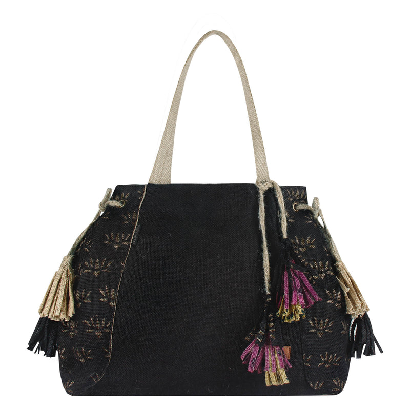 Tassel-Emperor-Block-Printed-Eco-Friendly-Jute-Female-Shoulder-Bag 1