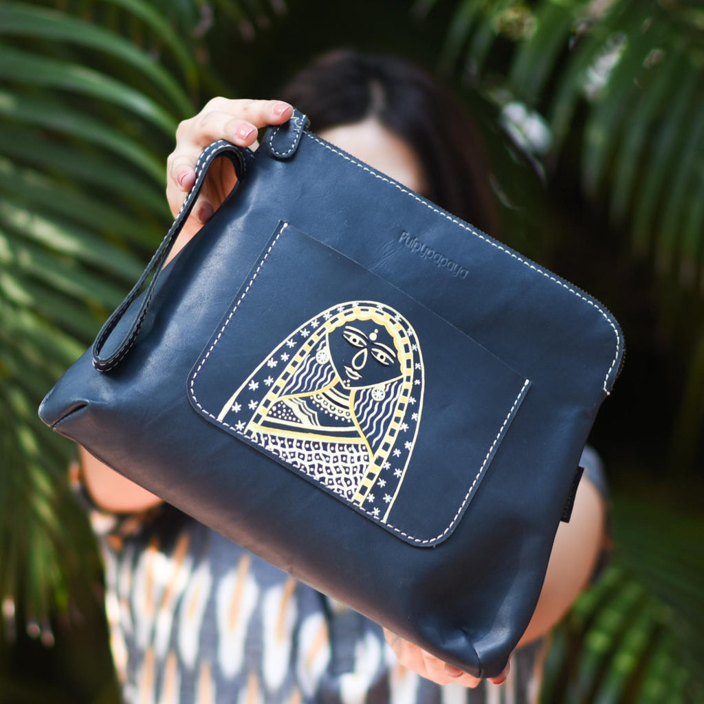 buy classy Madhubani art leather bag for females hand painted and handcrafted by crafinno.com